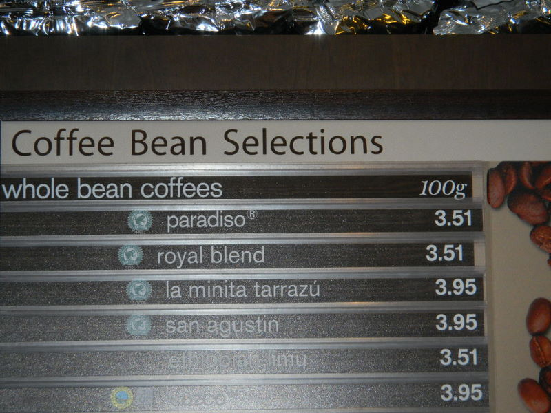Coffee bean pricing at Second Cup