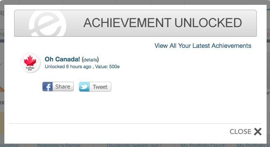 Oh Canada achievement on Empire Avenue