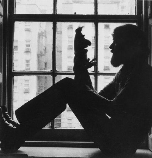 Jim Henson with Bert Muppets black and white silhouette