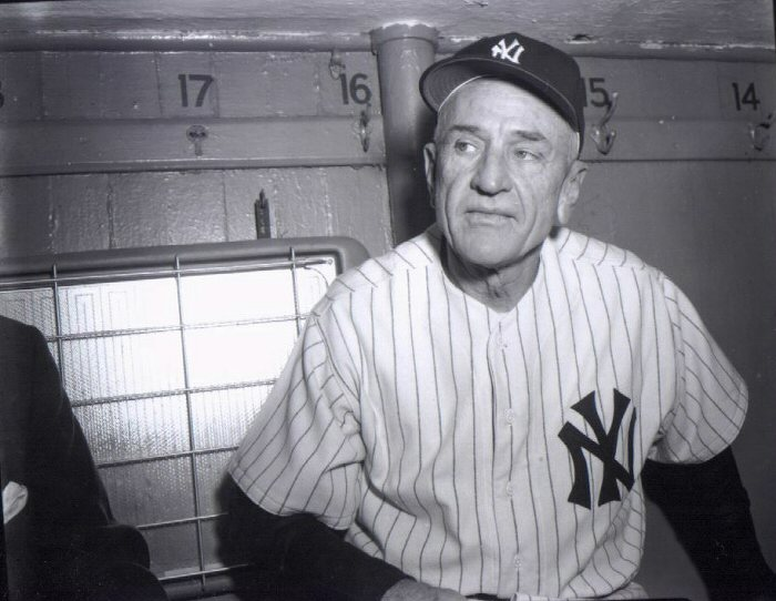 Casey Stengel New York Yankees black and white dugout