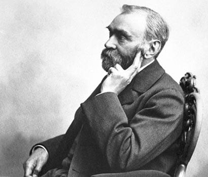 Alfred Nobel sitting in chair