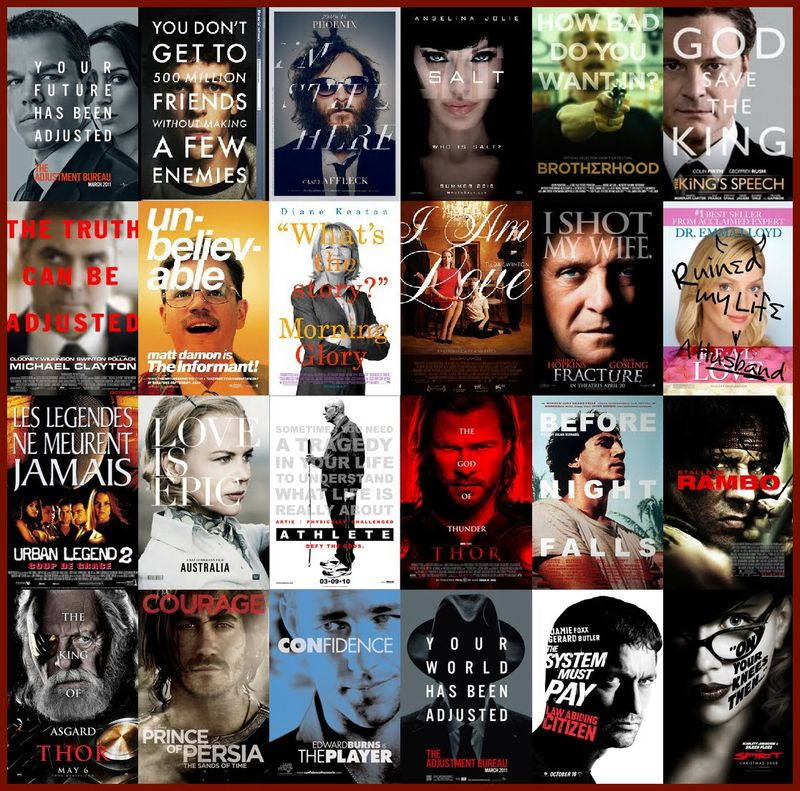 Faces and text movie posters