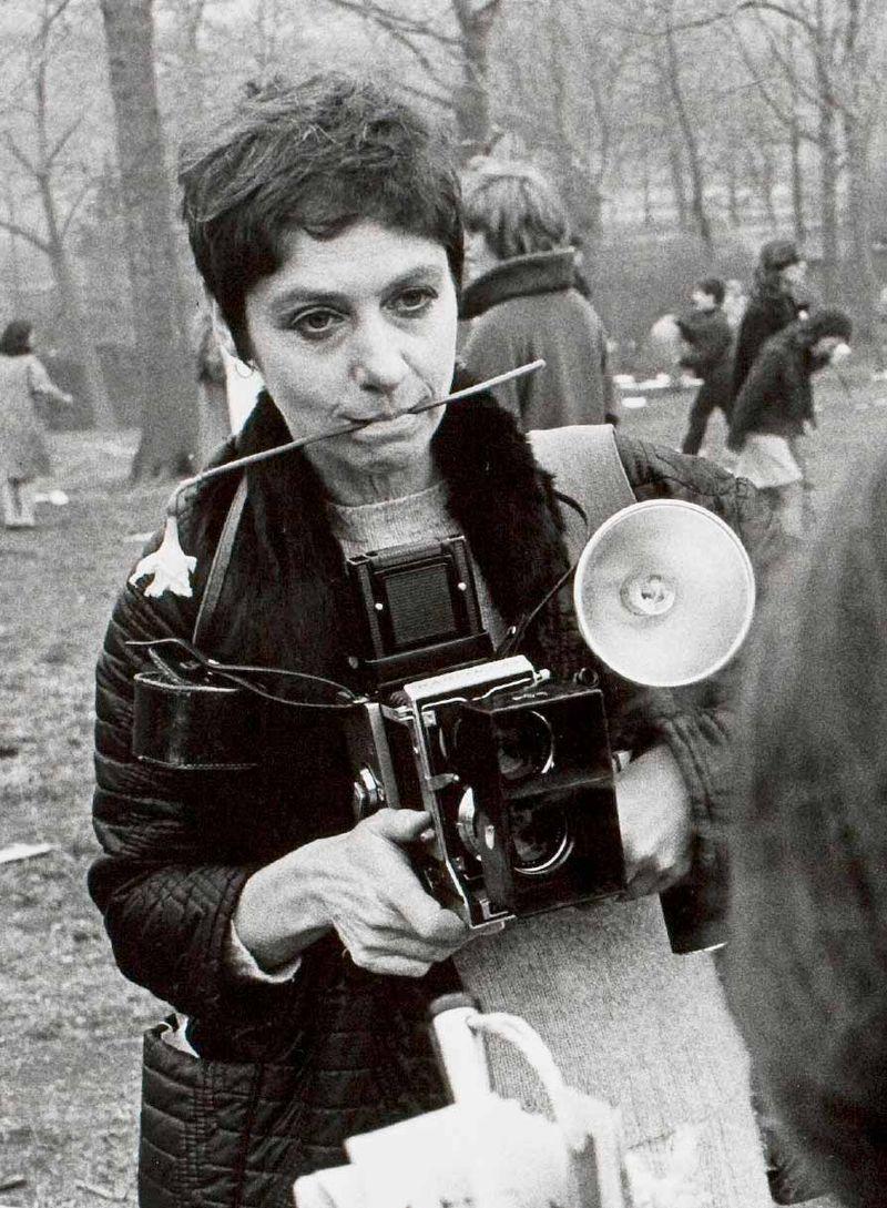 Diane Arbus with camera