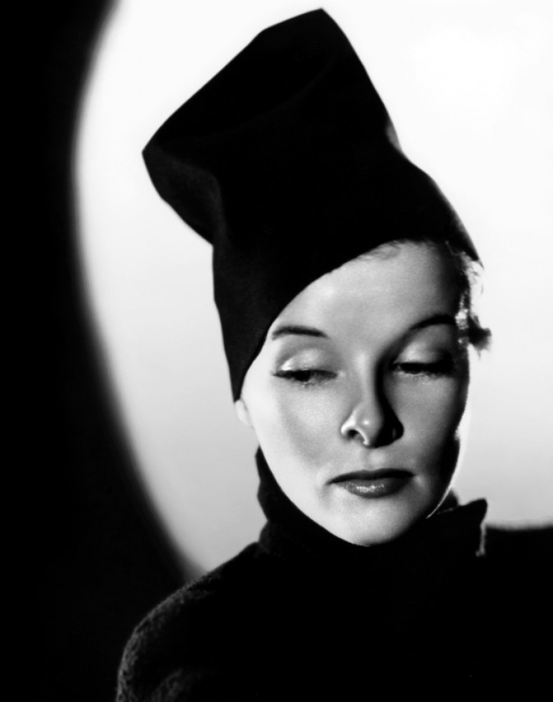 Katharine Hepburn hat black and white solemn