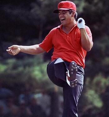 Lee Trevino celebrating red shirt