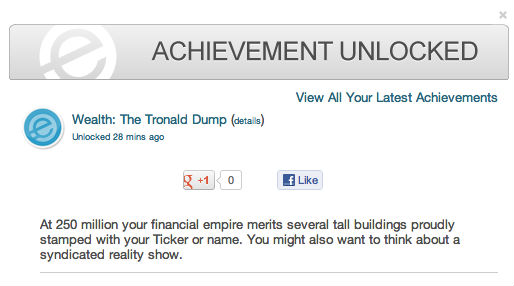Tronald Dump achievement 250 million