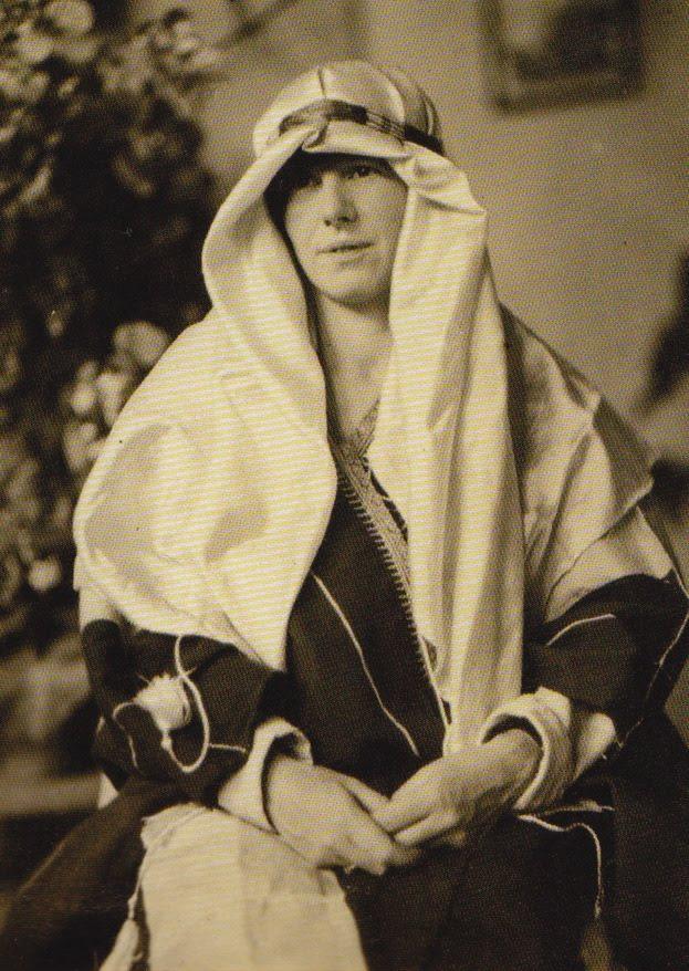 Dame Freya Stark in headdress