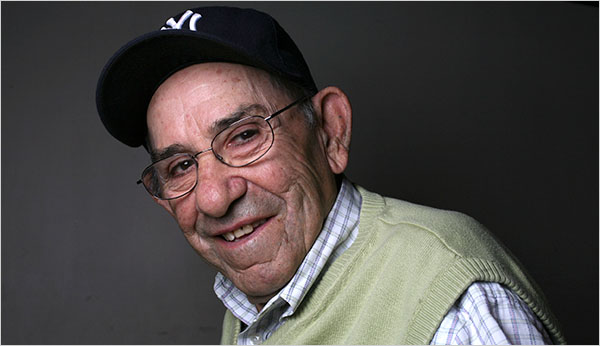 Yogi Berra with ball cap