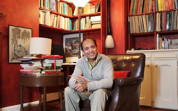 Vikram Seth in library