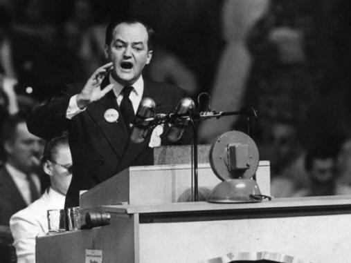Hubert Humphrey giving speech black and white