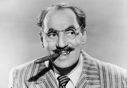 Groucho Marx cigar smile black and white