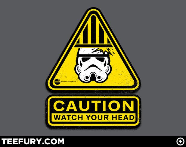 Stormtrooper head warning TeeFury