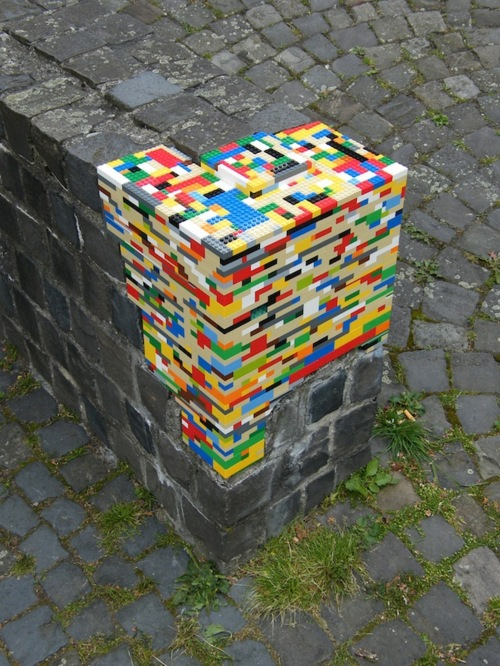 Lego patch on brick wall
