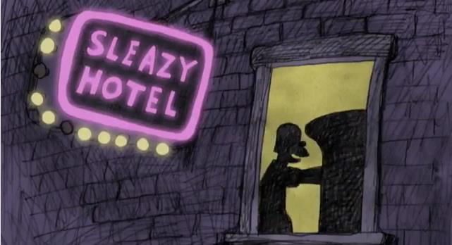 Bill Plympton Simpsons couch sleazy hotel