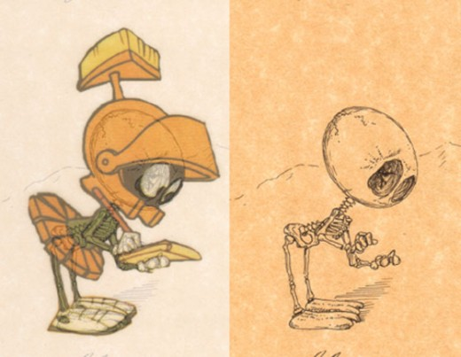 Marvin the Martian as a skeleton