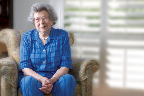 Beverly Cleary in chair