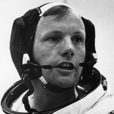 Neil Armstrong with Apollo helmet gear
