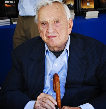 Gore Vidal with cane