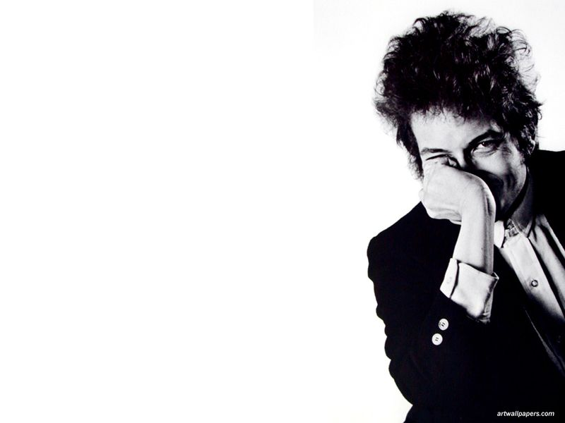 Bob Dylan hand to face smiling