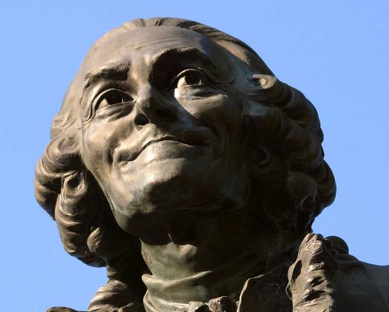 Voltaire statue head blue sky