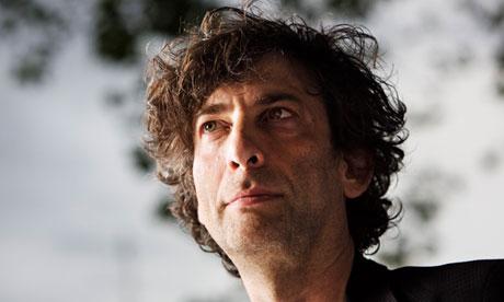 Neil Gaiman looking up Guardian