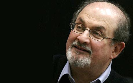 Salman Rushdie looking up