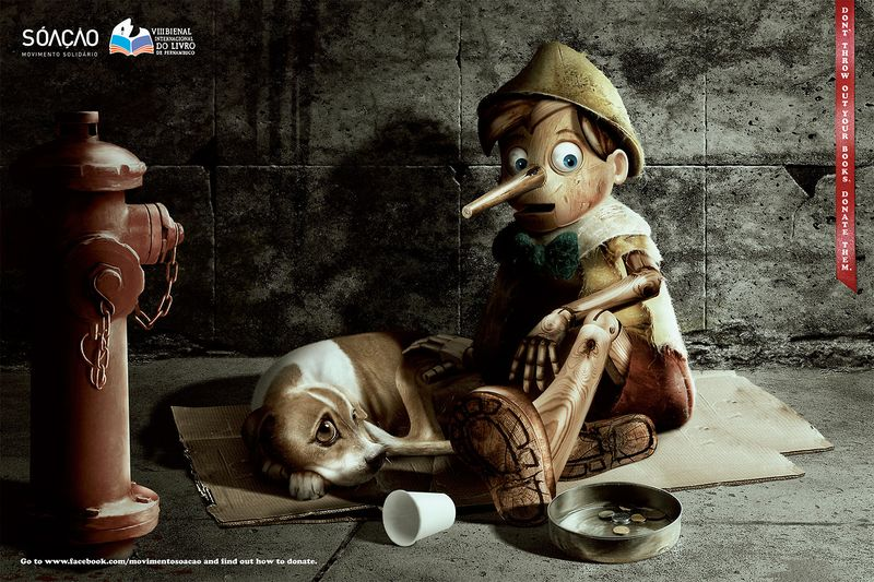 Pinocchio don't throw out your books