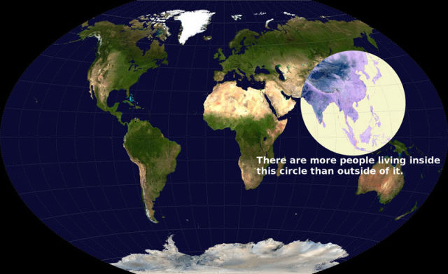 More people are living inside this circle than outside