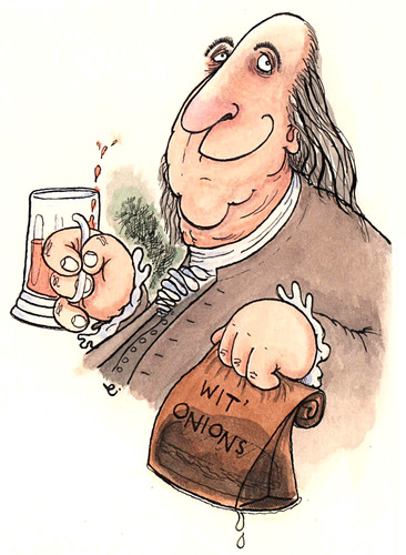 Benjamin Franklin cartoon with cheesesteak bagged