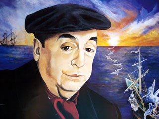 Pablo Neruda painted with beret